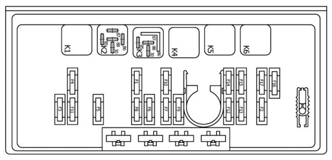 Р1 - реле обогрева заднего Монтажный блок предохранителей Ваз 21074 инжектор.  Нажмите на картинку.