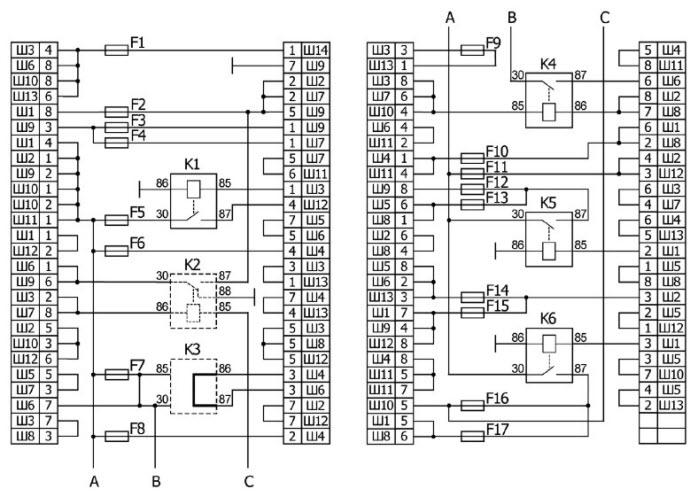 Схема электрических соединений монтажного блока 2123.