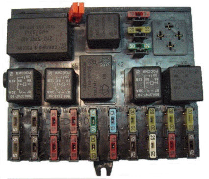 Монтажный блок.  Принципиальная электрическая схема автомобилей ВАЗ-2110.